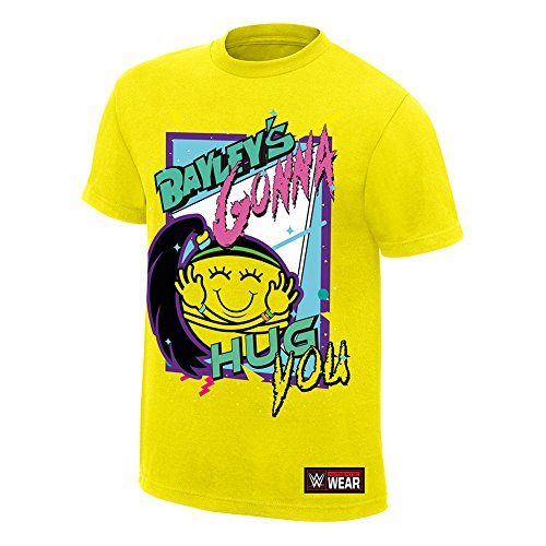 WWE Bayley Bayley's Gonna Hug You Authentic T-Shirt Yellow Medium