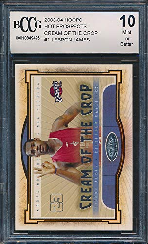 2003-04 Hoops Cream of the Crop #1 LeBron James Rookie Card Graded BCCG 10