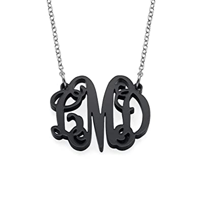 0126d489701a Black Fancy Monogram Necklace in Acrylic - Custom Made with Any Initial!  (14 Inches