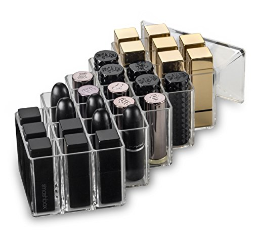 byAlegory Acrylic Honeycomb Lipstick Makeup Organizer 28 Spaces | Designed To Stand, Lay Flat & Be Stacked