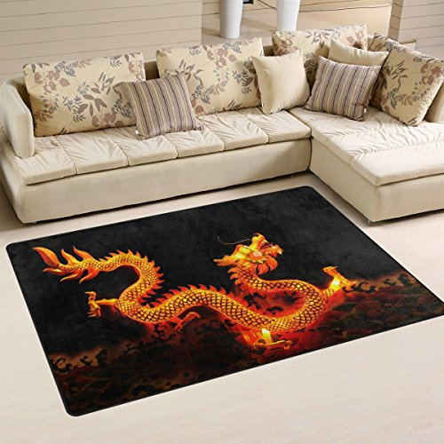 LORVIES Chinese Dragon Lantern Area Rug Carpet Non-Slip Floor Mat Doormats for Living Room Bedroom 60 x 39 inches