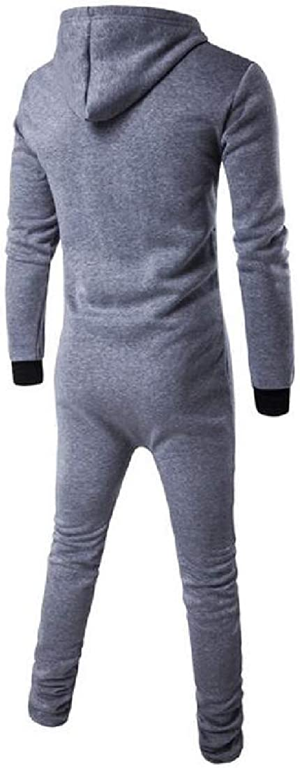 SHOWNO Mens Jumpsuits Hoodie Contrast Slim Sports Jumpsuits Rompers