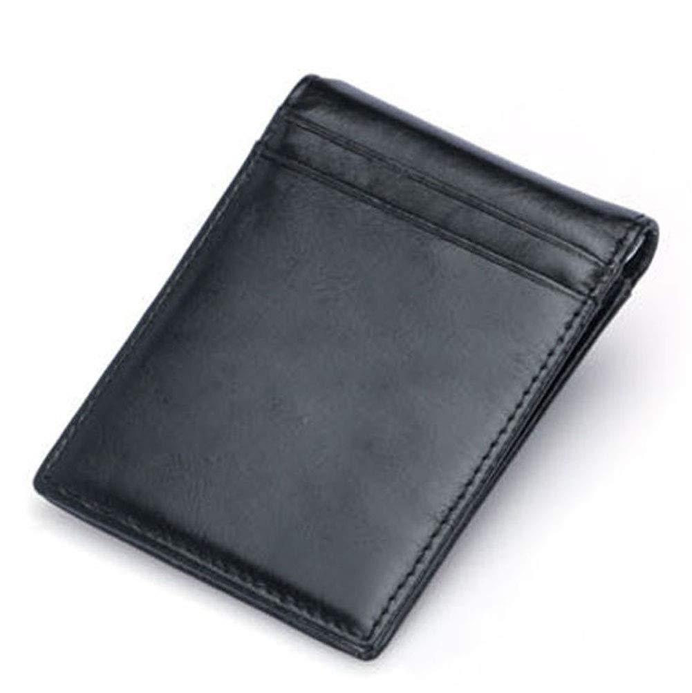 Clip de Dinero Cuero Cartera, Jingleer Cartera Negra de Piel auténtica Slim Billetero Tarjetero para Hombre De Crédito (Negro)