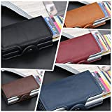 Explopur Solid Color,Fashion Men Anti RFID Double Layers Credit Card Holder PU Leather Metal ID Card Case Aluminum Card…