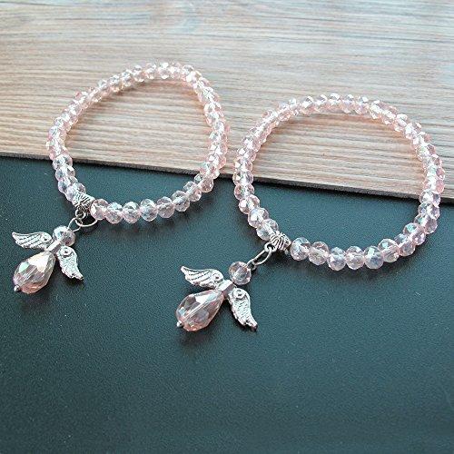 Crystal Angel Charm Bracelet Pink 12 PCS - Baptism Favor / Christening Favor /Recuerdos de Bautizo / Quinceanera/ Baby Shower (Party Bead Angels)