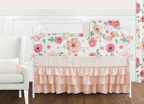 Sweet Jojo Designs Peach and Green Shabby Chic Watercolor Floral Baby Girl Crib Bedding Set with Bumper - 9 pieces - Pink Rose Flower Polka -