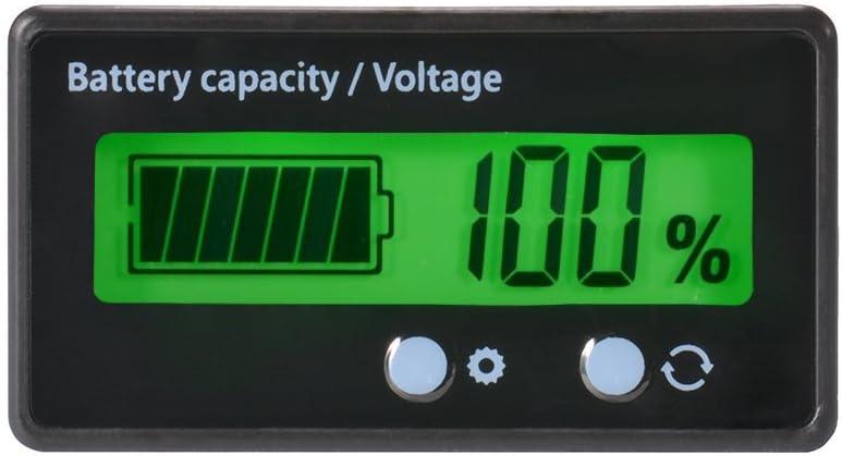 Medidor de Capacidad de la batería LCD,12V / 24V / 36V / 48V Indicador de Estado de la batería de Plomo ácido,Medidor de Voltaje Monitor Luz de Fondo Verde para la batería del vehículo