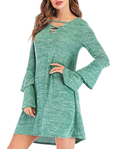 Eanklosco Women's Sweater Dress Flare Long Sleeve Knit Jumper Tops Criss Cross V Neck Loose Swing Tunic Dress (Green, XL)