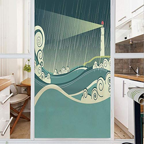 (Decorative Window Film,No Glue Frosted Privacy Film,Stained Glass Door Film,Lighthouse Seascape in Raining Night Tower Stormy Weather Light Navigation,for Home & Office,23.6In. by 59In)