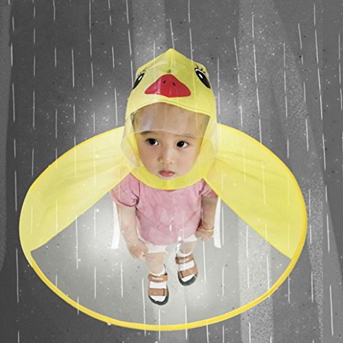 XILALU Kids UFO Raincoat, Windproof & Waterproof Foldable Cute Transparent Cartoon Duck Hands Free Umbrella Hat Funny Rain Coat-Scratch Resist (Yellow, Child S) by XILALU (Image #3)