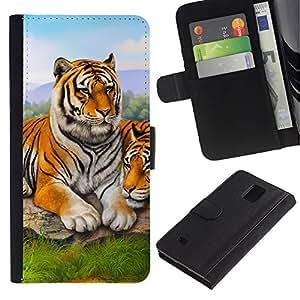Caso Billetera de Cuero Titular de la tarjeta y la tarjeta de crédito de la bolsa Slot Carcasa Funda de Protección para Samsung Galaxy Note 4 SM-N910 Tiger Cute Painting Animal Nature