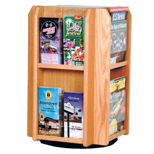 (Wooden Mallet LM8-TT Spinning/Rotating Counter 8 Pocket Magazine Rack or 16 Pocket Brochure Holder from ABC Office in Light Oak)