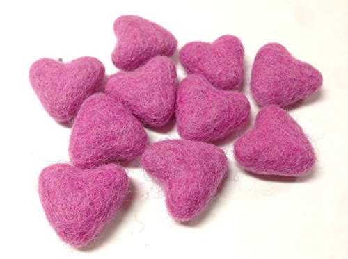Yarn Place Felt Wool Felted Sculpted Hearts 10 Piece 1 Color 30mm (3cm) - Heart Sculpted