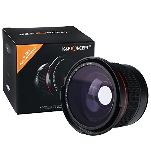K&F Concept 58mm Fisheye, 58mm 0.35X HD Professional Super Fisheye Wide Angle Lens w/Macro Close Up for Canon Nikon Digital Camera Lenses