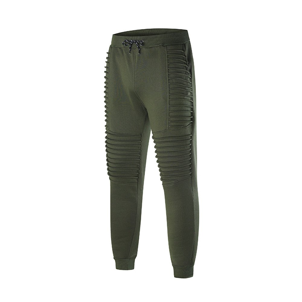 Spbamboo Mens Fashion Pants Sports Striped Lashing Belts Casual Solid Sweatpants by Spbamboo