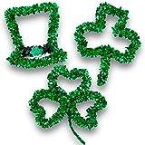 #5: St. Patrick's Day Tinsel Shamrock Wall Decorations Set (3 Pack)
