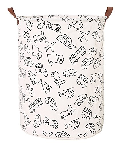 LANGYASHAN Large Storage Bin,Waterproof Cotton/Canvas Laundry Hamper for Toys, Kids, Pets, Nursery-Toy Bin/Gift Baskets(Vehicle)