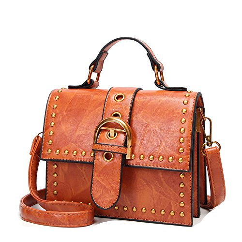 - shopping-more 2018 New Retro Rivet Small Party Fashion Wild Messenger Shoulder Bags,brown