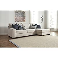 Kendleton Contemporary Stone Color Fabric Sectional Sofa