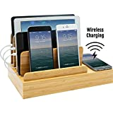 G.U.S. Charging Desk Organizer with Wireless Smart Charging Pad + 6-USB Ports. Multi-Device Charger for iPhones, iPads, E-Readers, Samsung, Android, Nexus and more. Strong Build, Eco-Friendly Bamboo