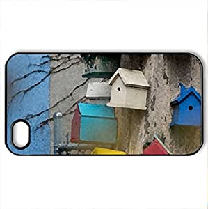 Bird Houses - Case Cover for iPhone 4 and 4s (Houses Series, Watercolor style, Black) by supermalls