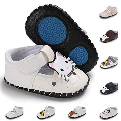 Baby Girl Boy Infant Shoes Toddler PU Leather Soft Sole Cartoon Slippers Baby Loafers Newborn Crib Shoes(6-12 Months M US Infant,A-cat-White)