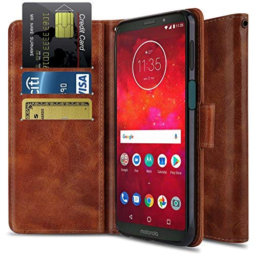 Moto Z3 Play Case, Moto Z Play Case (3nd Gen),OTOONE [Flip Folio] Shock Proof PU Leather Wallet Card Slot Protective Phone Cover with Kickstand for Motorola Moto Z Play 3nd Gen 2018 (Bronze)