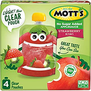 Mott's No Sugar Added Strawberry Kiwi Applesauce, 3.2 Ounce (Pack of 24) Clear Pouches, 4 Count, Perfect for on-the-go, No Added Sugars or Sweeteners, Gluten Free and Vegan