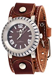 Nemesis #BSTH079B Men's Signature Buoy Analog Wide Leather Cuff Band Watch