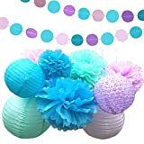Fonder Mols Mermaid Under the Sea Party Supplies Decorations Tissue Paper Pom Poms Flowers Lantern Garland Kit for Baby Shower Bridal Shower 15 Pcs