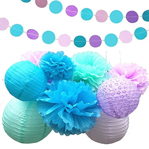Fonder Mols Mermaid Under the Sea Party Supplies Decorations Tissue Paper Pom Poms Flowers Lantern Garland Kit for Baby Shower Bridal Shower 15 Pcs by fondemols