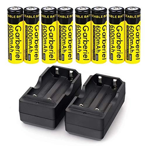 Garberiel 8PCS Rechargeable 18650 Battery & 2pcs Dual Smart Charger,6000mAh Li-ion 3.7V(NOT AA,NOT Flat Top)