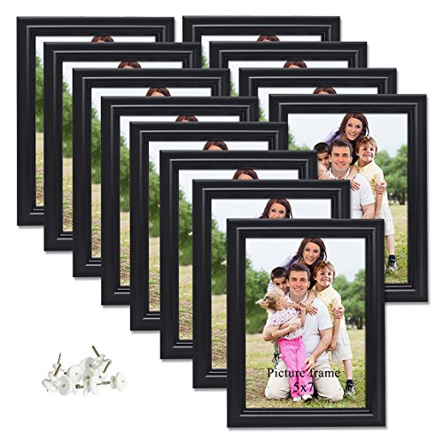 PETAFLOP 5x7 Picture Frame Set Hold 5 by 7 inch Black Photo