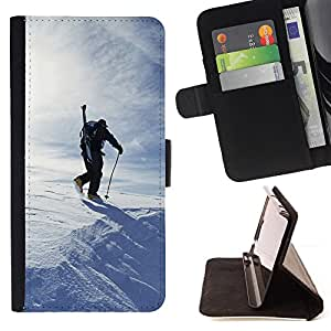 DEVIL CASE - FOR Apple Iphone 4 / 4S - Winter Skiing - Style PU Leather Case Wallet Flip Stand Flap Closure Cover