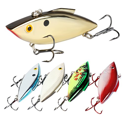 aits, Rattle Trap Lures with Mustad Treble Hooks, Rattlebaits Hard Fishing Baits in 5 Different Fish-Catching Colors with Tackle Box for Most Fishing Situations (Pack of 5) ()