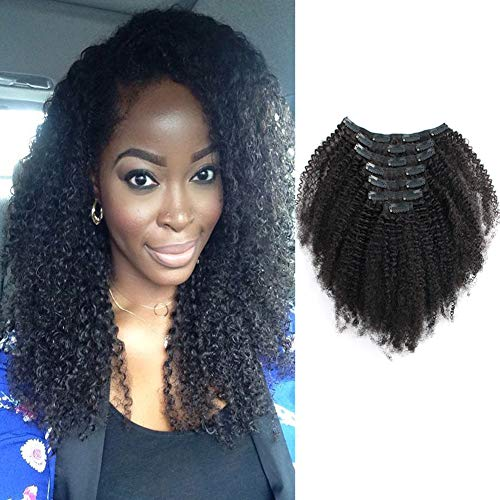 Sassina Seamless Remi Human Hair Clip In Extensions 8A Grade Double Wefts Afro Kinky Curly Clip On Hair,Natural Looking 3C 4A For African Americans 120 Grams 7 Pc With 17 -
