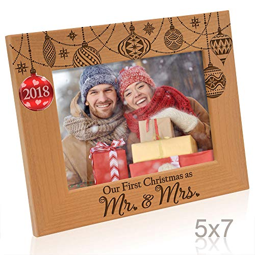 Kate Posh - 2018 Inlaid Ornament Picture Frame, Our First Christmas as Mr. & Mrs. Engraved Natural Wood Photo Frame, Couples Gifts, First Year Anniversary Wedding Gifts ()