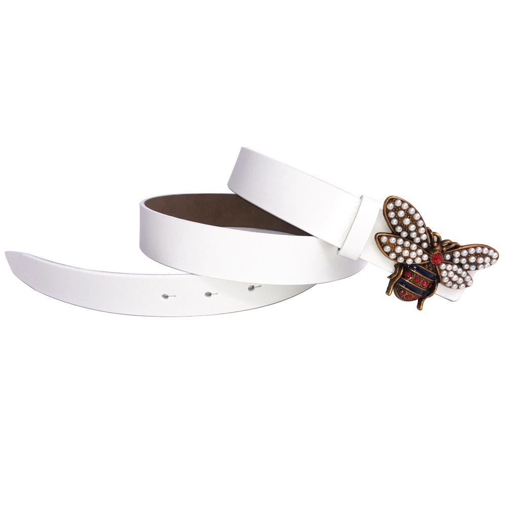 eab23ec1835 MoYoTo Women 1.10″ Thin Genuine Leather Fashion Bee Designer Buckle Belt  With Pearl (White)  Amazon.ca  Clothing   Accessories