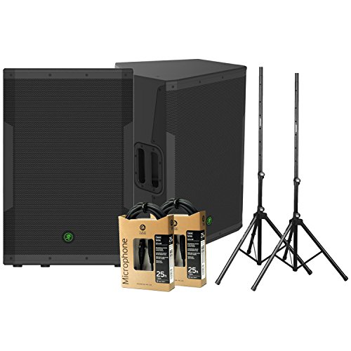 2 Mackie SRM650 Powered Speakers (1600 Watts, 1x15'') w/ 2 Stands and 2 XLR Cables by Mackie