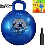 Space Hopper Ball: Blue, 18in/45cm Diameter for Ages 3-6, Pump Included (Hop Ball, Kangaroo Bouncer, Hoppity Hop, Sit and Bounce, Jumping Ball)
