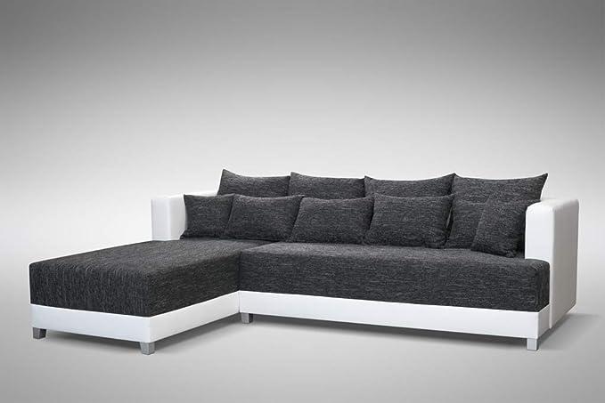 Schlafsofa Sofa Couch Ecksofa Eckcouch schwarz / weiss ...