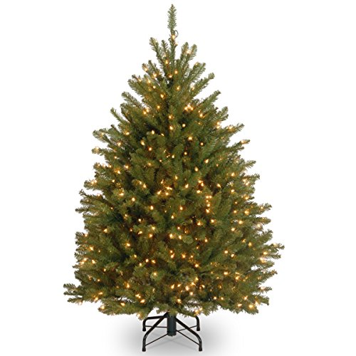 National Tree 4 Foot Dunhill Fir Tree with 200 Clear Lights (DUH-40LO) (Pre Lit Dunhill Fir Artificial Christmas Tree)