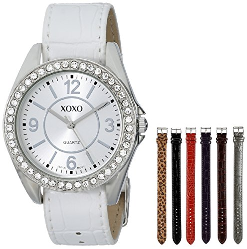 XOXO Women's XO9054 Seven-Color Croco Interchangeable Strap Watch Set