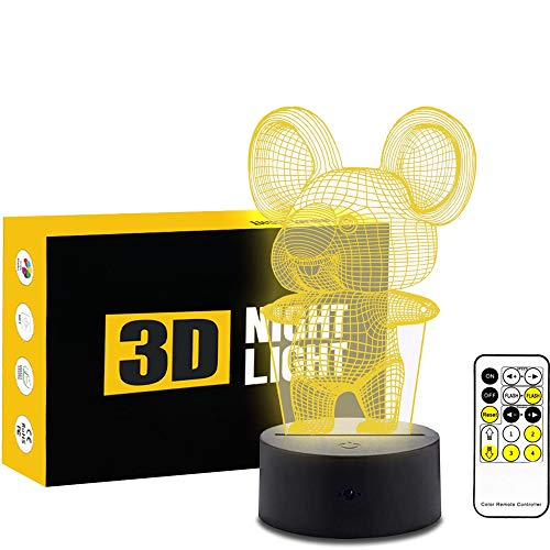 Circle Koala 3D Optical Illusion Lamp 7 Colors Change and 15 Keys Remote Control Children Kids Bedside Table LED Night Light