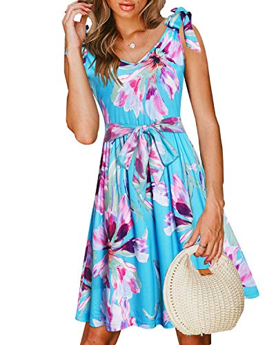 VOTEPRETTY Women's Casual Summer Beach Sleeveless V Neck Tie Floral Dress with Pockets ()