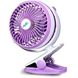 Uppgraded Portable Battery Operated Rechargeable Clip on USB Desk Fan, 6 inches 3 Speed, 360 Degree Adjustable Large Airflow and Ultra Quietness (Purple)