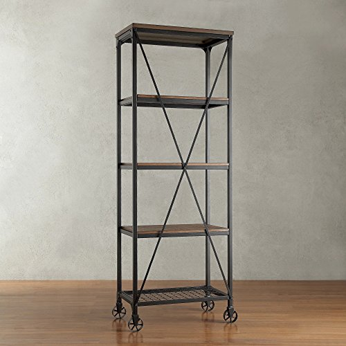 Cheap ModHaus Living Modern Industrial Rustic Riveted Black Metal & Wood Bookcase Shelf with Decorative Wheels – Includes (R) Pen