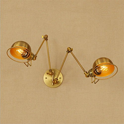 WW Vintage Wall Lamp Indoor Light Aged Brass Swing Arm Wall Sconce Double Head Wall Light ()