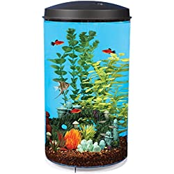 Koller Products AquaView 6-Gallon 360 Fish Tank with Power Filter and LED Lighting - AQ360-64C