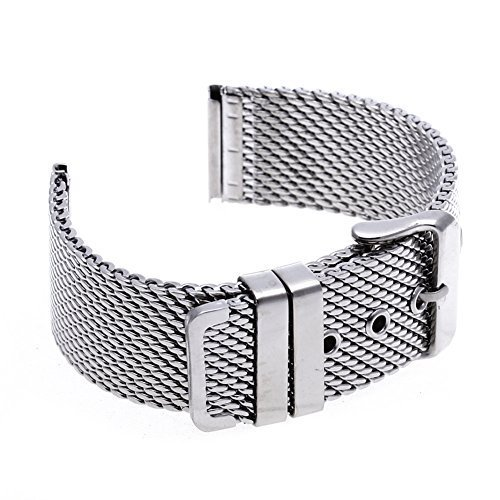 TFSeven® 22mm Unisex Thick Mesh Steel Watch Band Strap Bracelet Pin Buckle Silver Fashion DIY